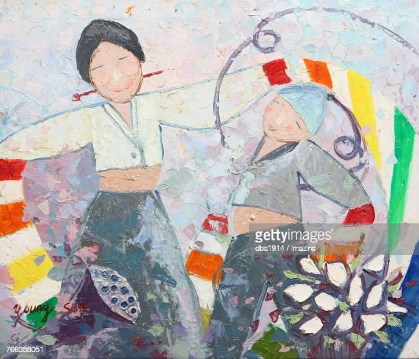 traditional culture illustration (korean harvest ritual) - hanbok stock illustrations, clip art, cartoons, & icons