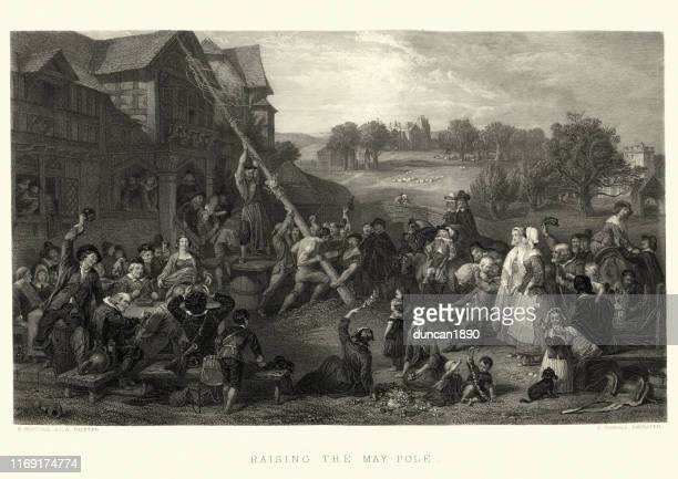 traditional english ceremony, raising the maypole in the village - may day international workers day stock illustrations