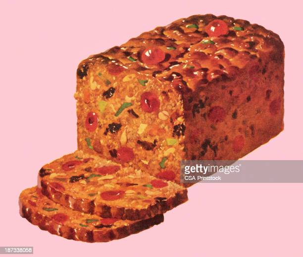traditional fruitcake with slices set on a pink background - tradition stock illustrations