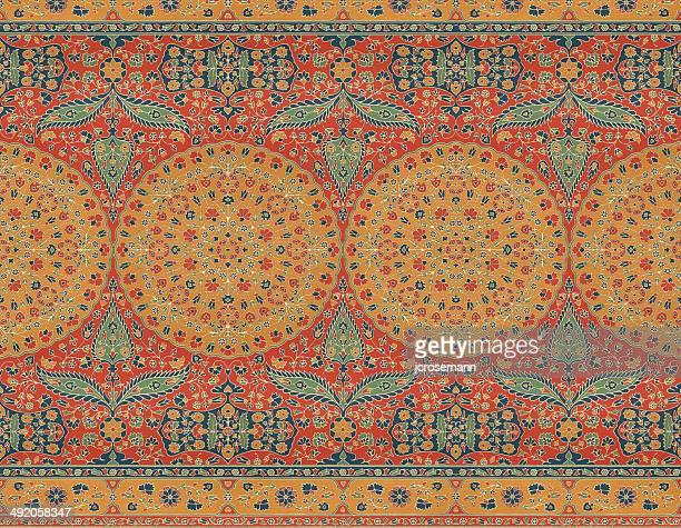 illustrazioni stock, clip art, cartoni animati e icone di tendenza di indo-persiano tradizionale carta da parati floreale - etnia indo asiatica