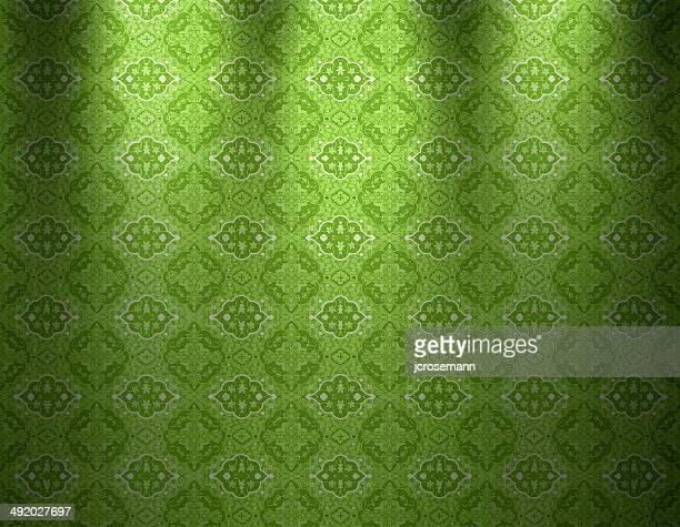 illustrazioni stock, clip art, cartoni animati e icone di tendenza di indo-persiano tradizionale verde di carta da parati - etnia indo asiatica