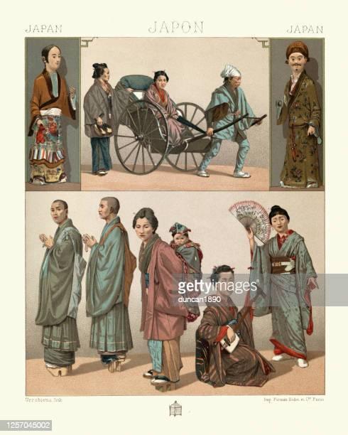 ilustrações de stock, clip art, desenhos animados e ícones de traditional japanese clothing, rickshaw passengers, bonze buddist monks, shamisen musician - vangen