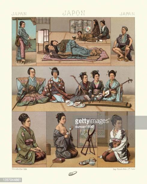 ilustrações de stock, clip art, desenhos animados e ícones de traditional japanese, sleeping mats, samurai with traditional musicians, woman getting dressed - vangen