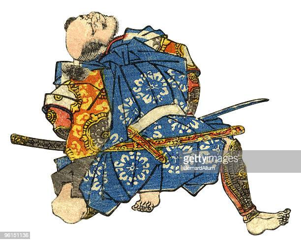 traditional japanese warrior woodblock print - only japanese stock illustrations, clip art, cartoons, & icons