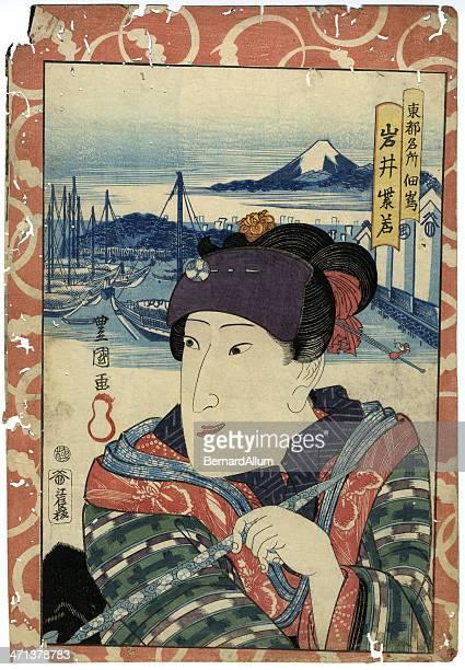 ilustraciones, imágenes clip art, dibujos animados e iconos de stock de japonesa tradicional woodblock a puerto hembra - mt. fuji