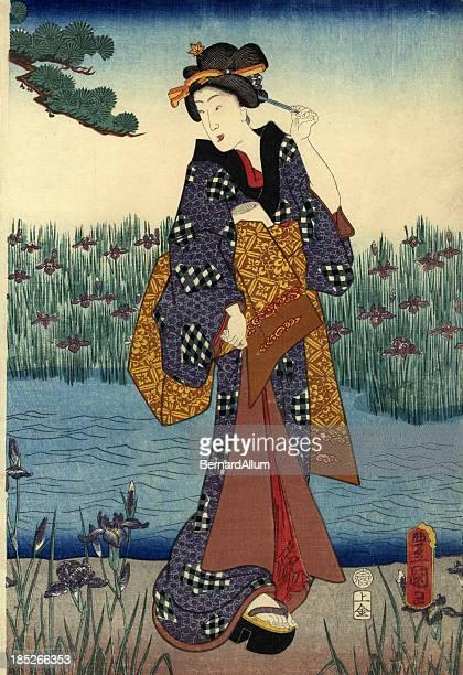 illustrations, cliparts, dessins animés et icônes de femme japonais traditionnel en bois de l'étang - estampe japonaise