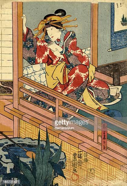 ilustrações, clipart, desenhos animados e ícones de feminino xiolográfica em japonês tradicional pela janela - arte, cultura e espetáculo