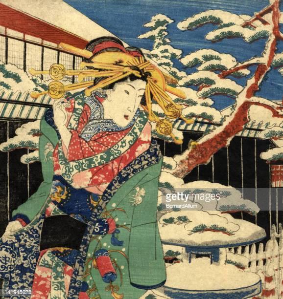 illustrations, cliparts, dessins animés et icônes de traditionnel bois femme japonaise dans la neige - estampe japonaise