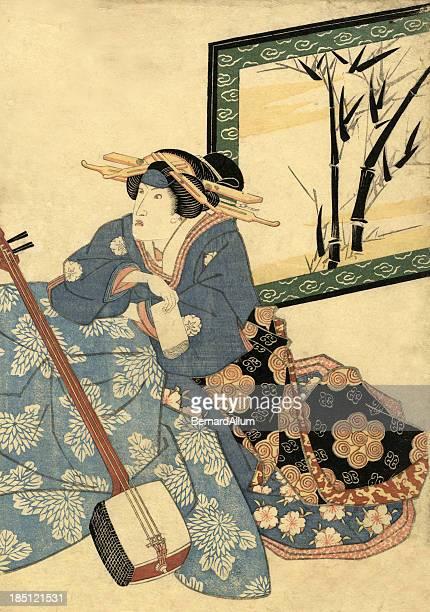 ilustrações de stock, clip art, desenhos animados e ícones de músico tradicional japonês xilográfica em fêmeas - vangen