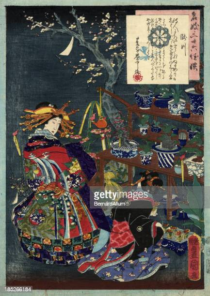 traditional japanese woodblock geisha's in a garden - only japanese stock illustrations, clip art, cartoons, & icons