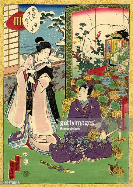 traditional japanese woodblock of a couple in room - only japanese stock illustrations, clip art, cartoons, & icons