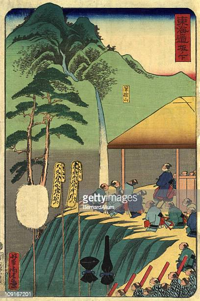 traditional japanese woodblock of a procession. - only japanese stock illustrations, clip art, cartoons, & icons