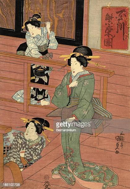 ilustrações, clipart, desenhos animados e ícones de xiolográfica em japonês tradicional de mulheres no quarto - arte, cultura e espetáculo