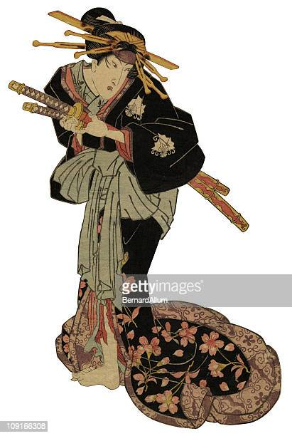 traditional japanese woodblock of actor - only japanese stock illustrations, clip art, cartoons, & icons