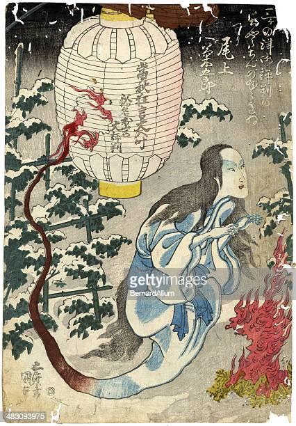 illustrations, cliparts, dessins animés et icônes de imprimé à la planche de bois traditionnel japonais de fantôme - estampe japonaise