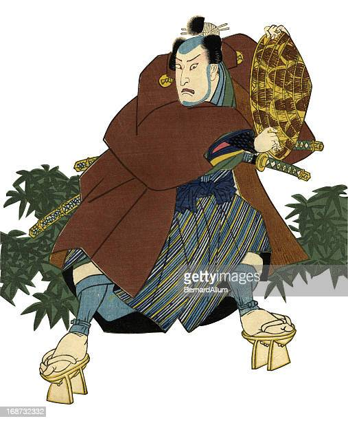 traditional japanese woodblock print of actor - only japanese stock illustrations, clip art, cartoons, & icons