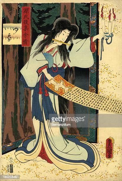 illustrations, cliparts, dessins animés et icônes de imprimé à la planche de bois traditionnel japonais de acteur - estampe japonaise