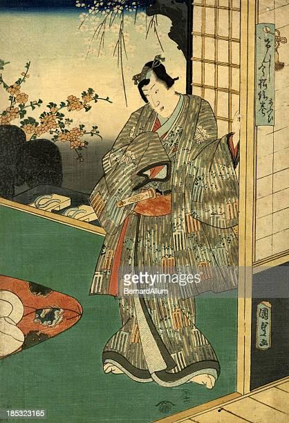 ilustrações, clipart, desenhos animados e ícones de xiolográfica em japonês tradicional estampa de ator - arte, cultura e espetáculo