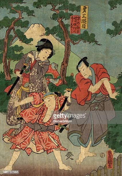 ilustrações, clipart, desenhos animados e ícones de xiolográfica em japonês tradicional estampa de atores - mt. fuji