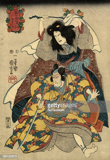 Traditional Japanese Woodblock print of Actors