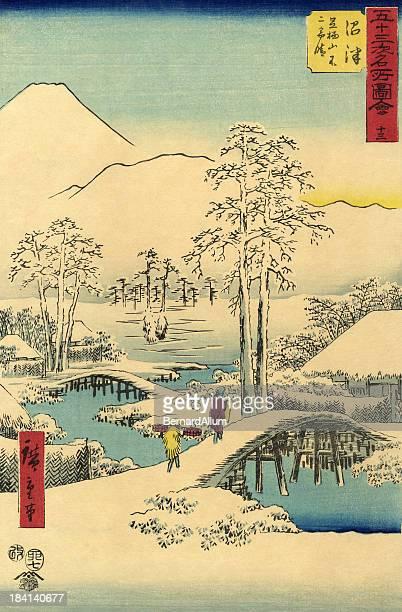 illustrations, cliparts, dessins animés et icônes de traditionnel japonais bois scène de neige - estampe japonaise