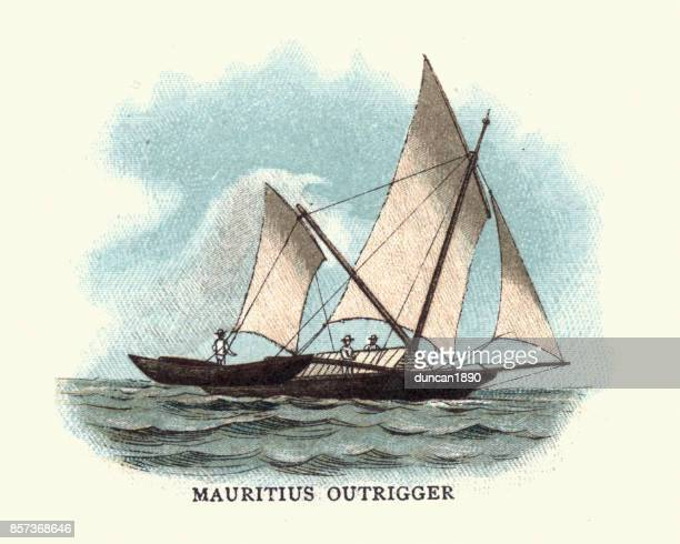 Traditional Mauritius Outrigger Boat, 19th Century