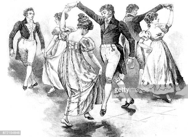 traditional old dance: couples dancing the gavotte - dancing stock illustrations, clip art, cartoons, & icons