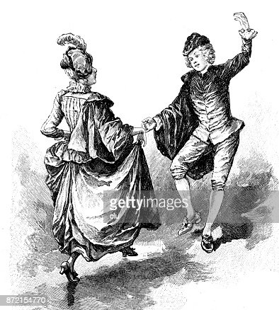 Traditional Old Dance Women And Men Dance Dutch Style stock
