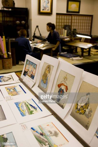 Traditional pictures for sale, Kyoto Handicrafts Centre.