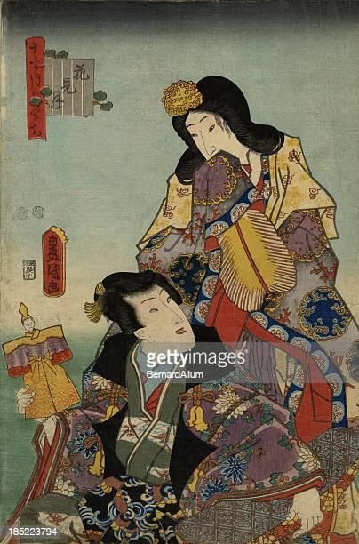ilustrações, clipart, desenhos animados e ícones de toyokuni xiolográfica em japonês tradicional estampa de gueixa's - arte, cultura e espetáculo