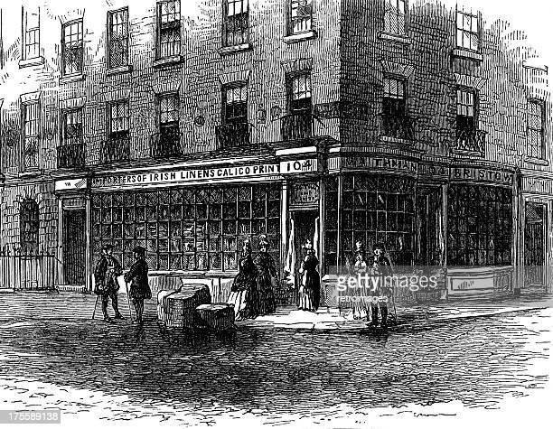Traditional Victorian London Fleet Street shop front (illustration)