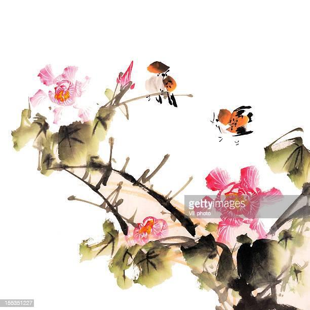 illustrations, cliparts, dessins animés et icônes de peinture chinoise traditionnelle - pivoine