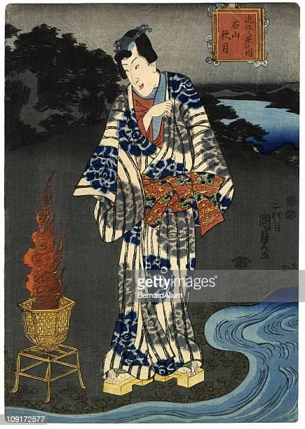 illustrations, cliparts, dessins animés et icônes de imprimé à la planche de bois traditionnel d'un homme de l'eau - estampe japonaise