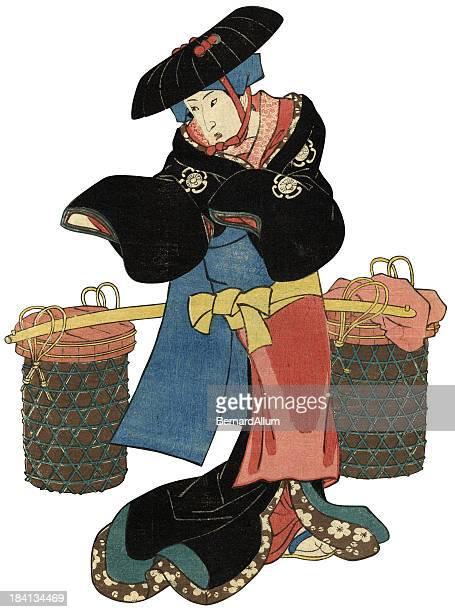 Traditional Woodblock print of female peasant