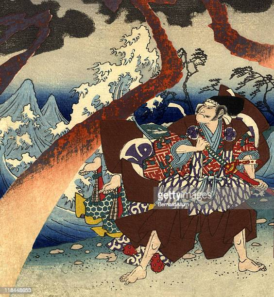 traditional woodblock print warriors and storm - tradition stock illustrations