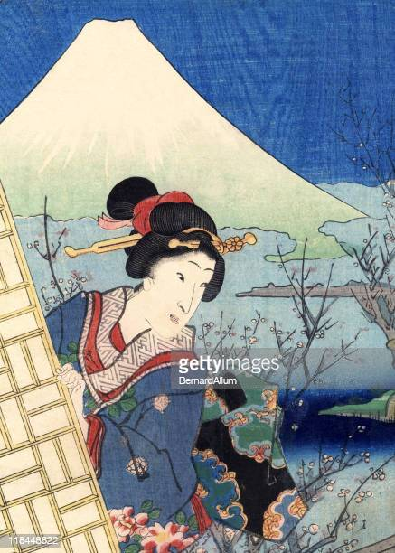 traditional woodblock print woman and mount fuji - only japanese stock illustrations, clip art, cartoons, & icons