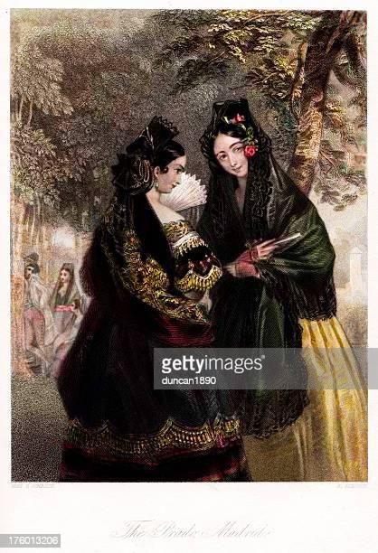 traditionally spanish women - spanish dancer stock illustrations, clip art, cartoons, & icons