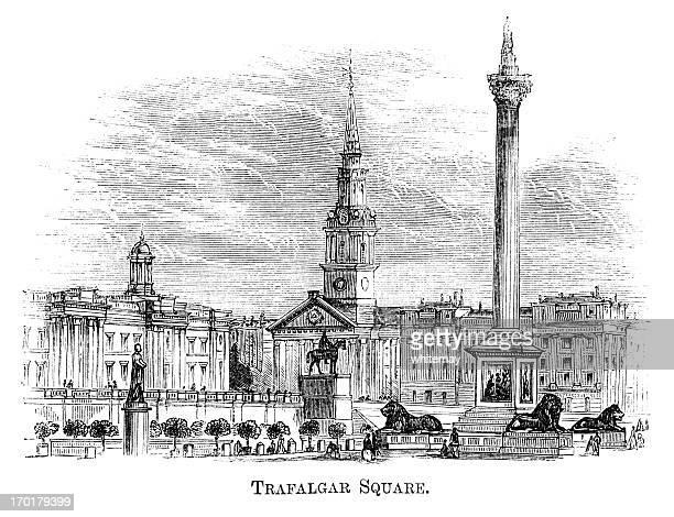 トラファルガー広場(1871 彫り込み - トラファルガー広場点のイラスト素材/クリップアート素材/マンガ素材/アイコン素材
