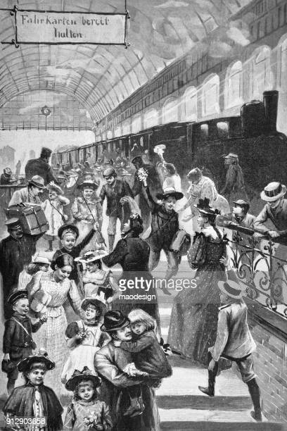 traffic at the railway station - 1896 - 1896 stock illustrations, clip art, cartoons, & icons