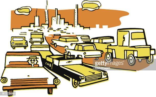 traffic jam - traffic stock illustrations