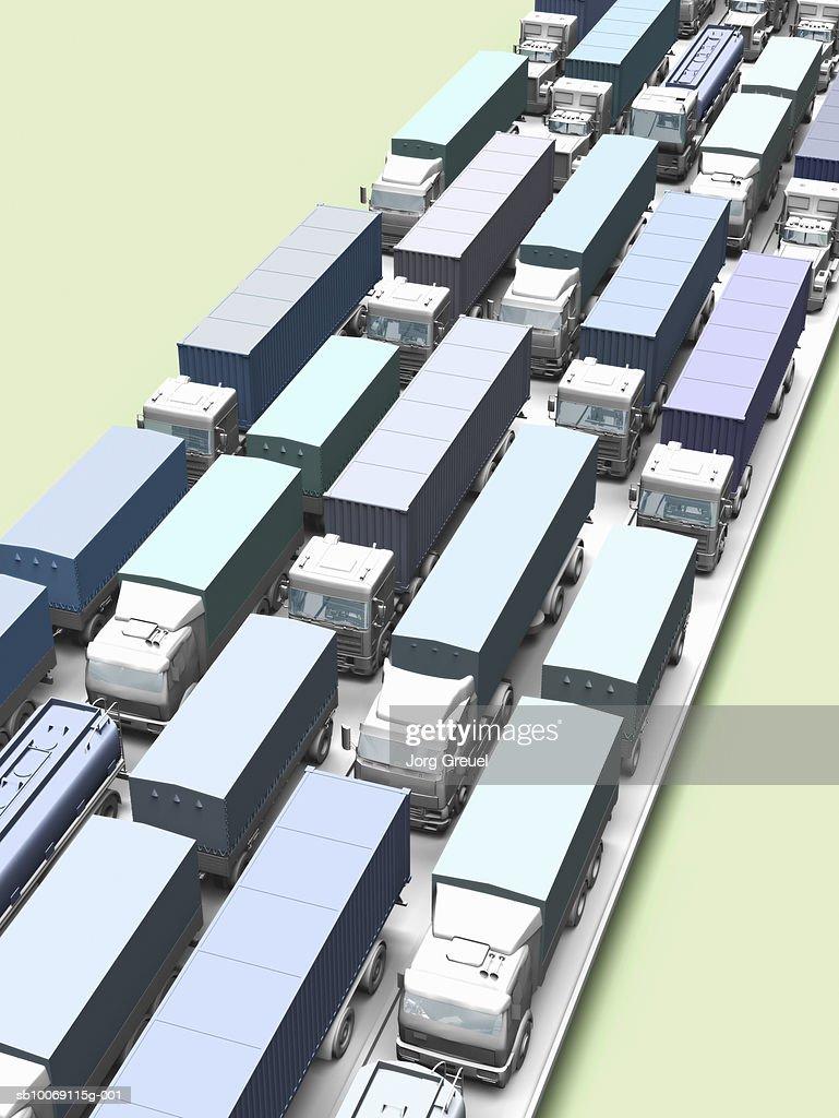 Traffic jam on highway, high angle view, (digitally generated) : Stockillustraties