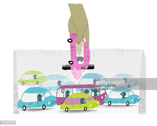 traffic jams - traffic stock illustrations