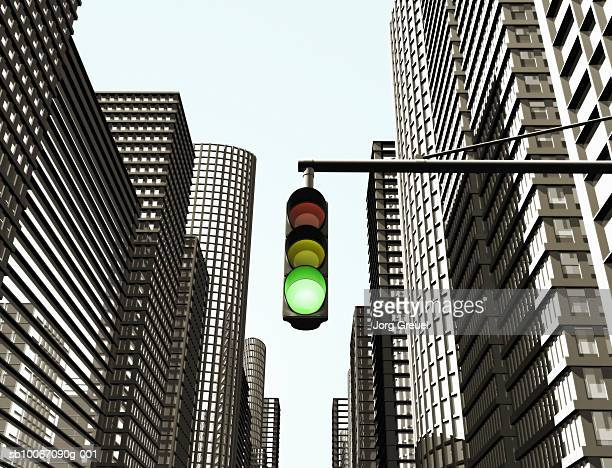 traffic light on city street - stoplight stock illustrations