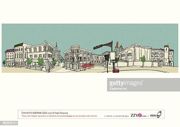 traffic signal with sidewalk cafe and church in the background - spire stock illustrations, clip art, cartoons, & icons