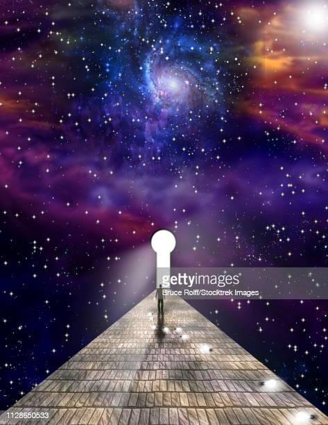 ilustraciones, imágenes clip art, dibujos animados e iconos de stock de trail of bulbs andman before  keyhole - galaxia espiral