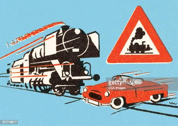 ilustraciones, imágenes clip art, dibujos animados e iconos de stock de train approaching red car on tracks - car crash