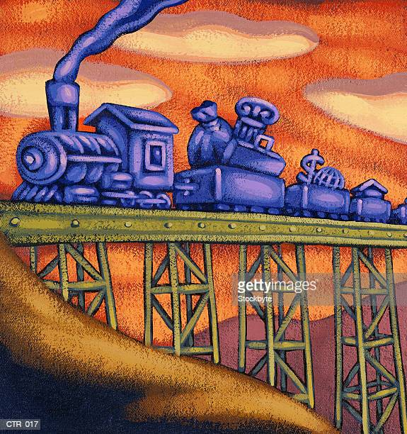 train going over bridge, pulling boxcars full of financial symbols - rail freight stock illustrations, clip art, cartoons, & icons