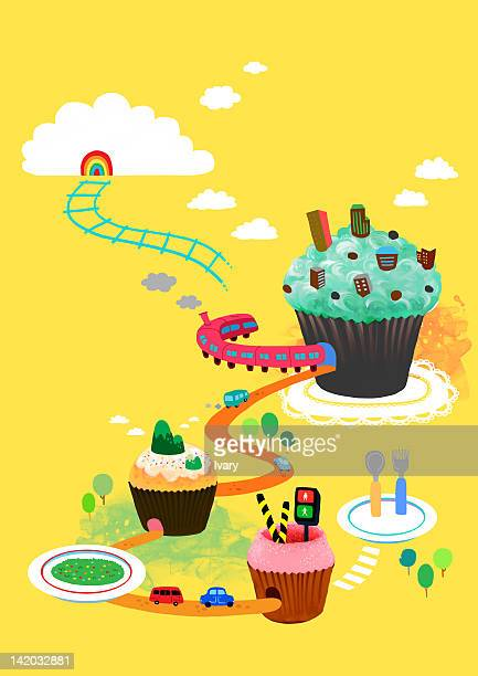 train travelling through cup cake - zebra crossing stock illustrations