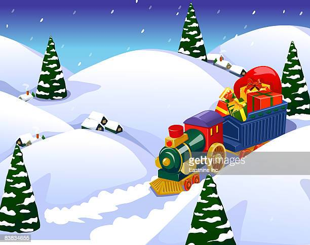 train with christmas gifts amid snowcapped hills - miniature train stock illustrations, clip art, cartoons, & icons