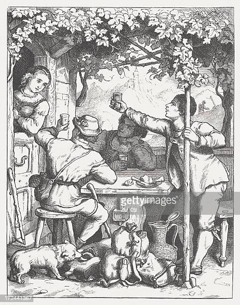 tramps in the past, wood engraving, published in 1871 - vagabond stock illustrations, clip art, cartoons, & icons